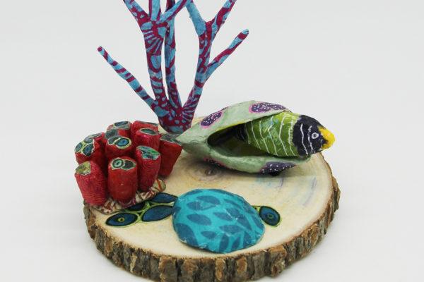 Scène marine avec poisson vert