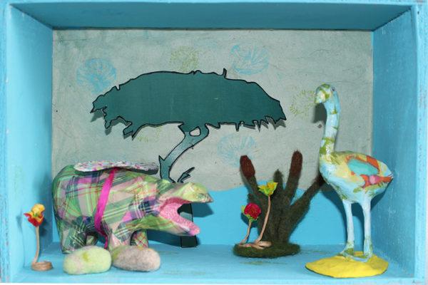 Scène 3D ou Diorama : rencontre hippopotame et flamant rose dans la savane